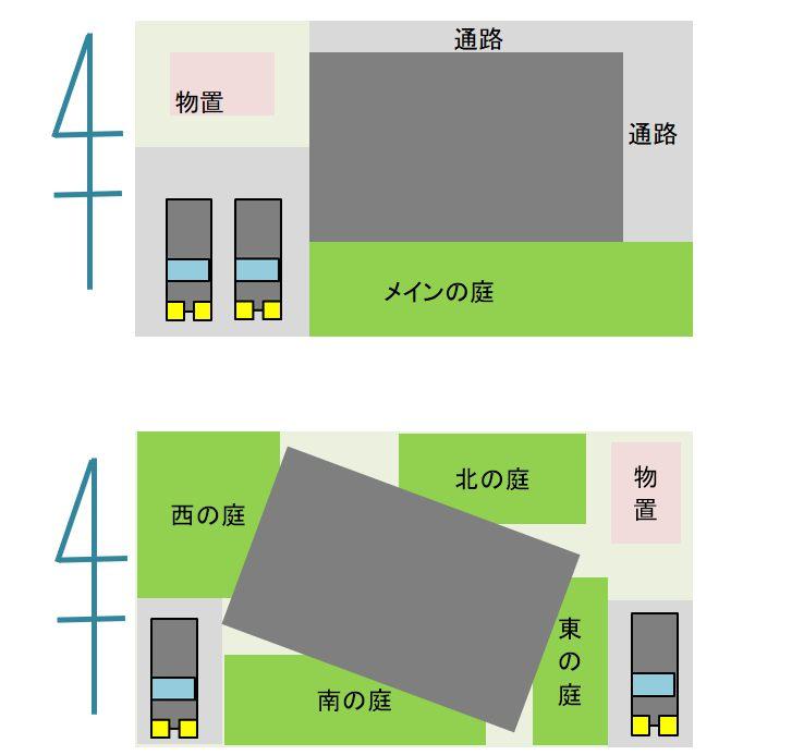 庭が4つある家の配置